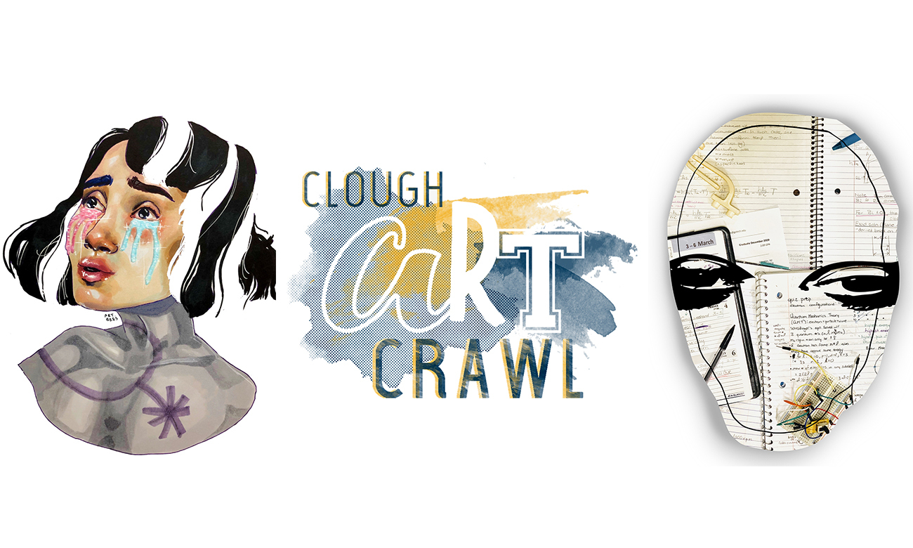 A digital art rendering of a girl crying with Clough Art Crawl logo and mask made from a composite of images and layers of paper.