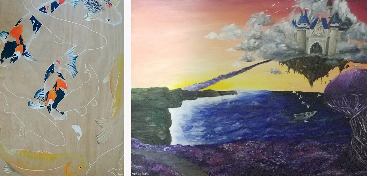 Fall 2019 Clough Art Crawl Peoples Choice winning art works by Claudia Chu (Ghosted,left) and Nancy Park (Departure, right).
