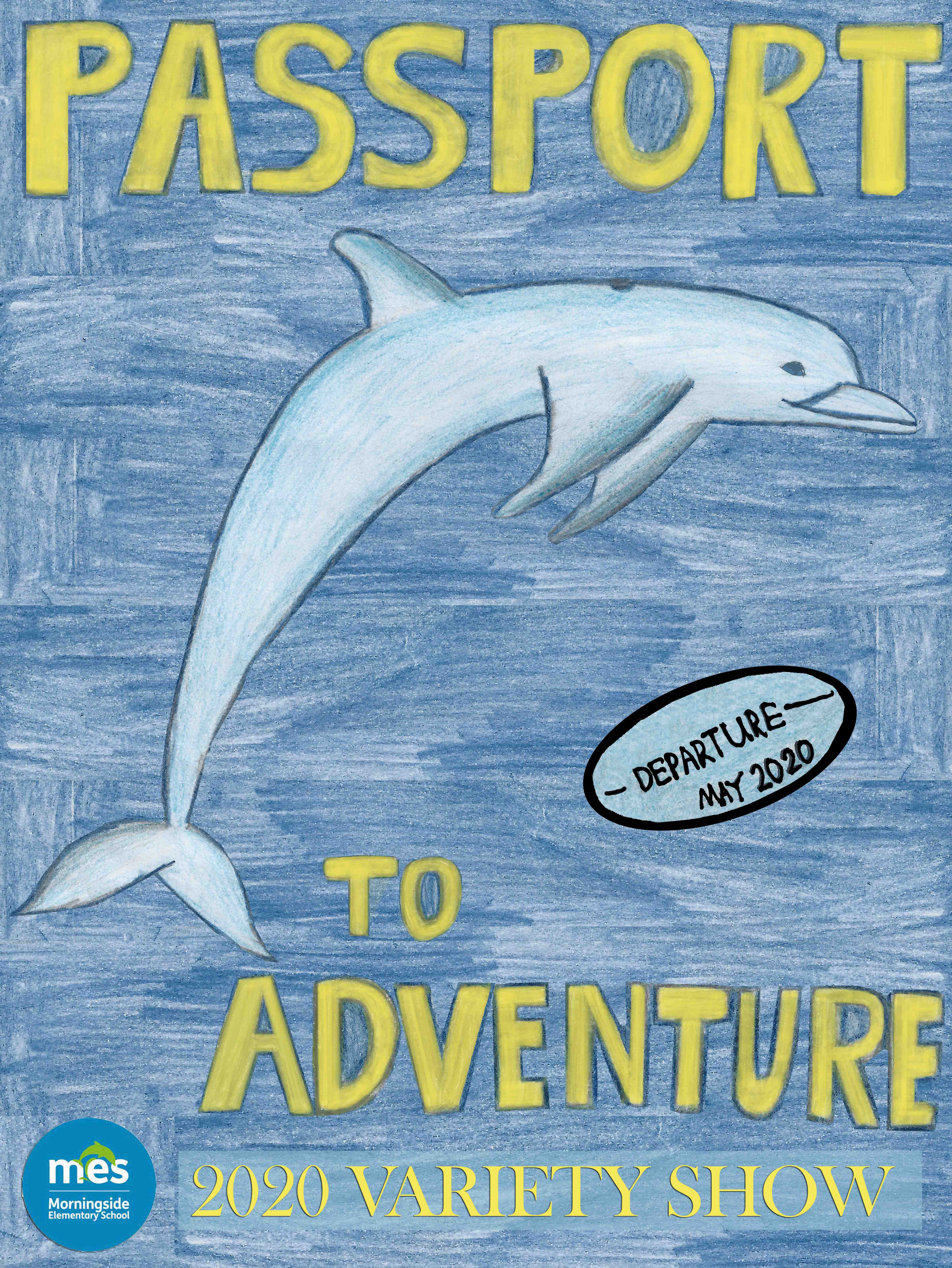 Passport to Adventure lettering on a child's drawing of a porpoise