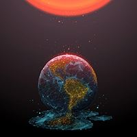 Illustration of the earth melting into space, under a looming orange sun.