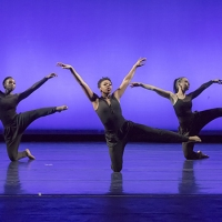 Three female dancers, bare feet, are dressed in black leotards with black pants. They balance on one on the ground, while the other leg and arms are outstreched. A vivid purple background is behind them.