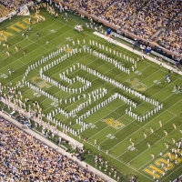 Yellow Jacket Marching Band in formation on the field