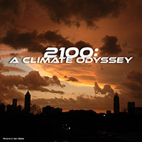 Illustration of a city skyline under an apocalyptic orange sky, with the text 2100: A Climate Odyssey
