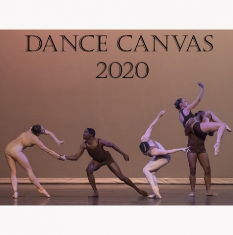 Dance Canvas 2020 performance series image content: five dancers in a row man and woman facing eachother grasping hands, woman alone facing down, man lifting woman high up in his arms