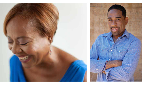 two images side by side. on the left a woman seen from the shoulders up she is laughing, leaning to the front. On the right, a man seen from the waist up. His arms are crossed over his chest. He is smiling.