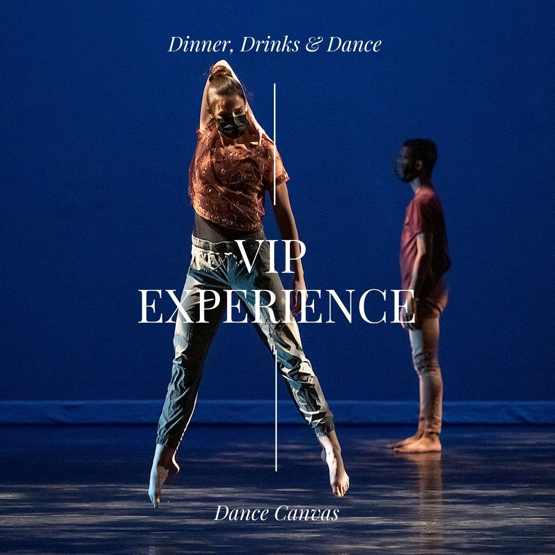 A woman jumping, legs apart in second position, her bare feet pointed. She is masked. Behind her at a distance a man is standing in profile. Text reads: Dinner, Drinks, & Dance VIP ExperienceDance Canvas
